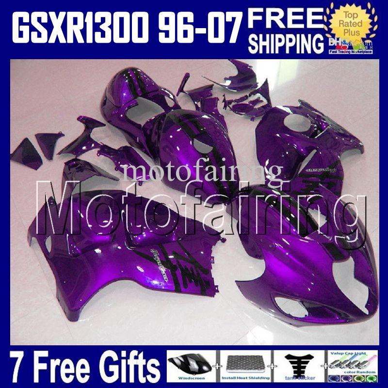 Cadeaux 7Frees pour Suzuki Hayabusa GSXR1300 HR1642 GSX R1300 Purple Noir 96 97 98 99 00 01 02 03 04 05 06 07 GSX-R1300 1998-2007 ABS carénage