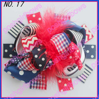 Wholesale Brown Zebra Hair Bow - free shipping 72pcs 5-6'' boutique funky fun hair bows popular hair bows clips zebra character clips