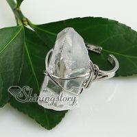 cristal balançado venda por atacado-anéis de dedo de ágata de cristal de rocha de quartzo moda jóias