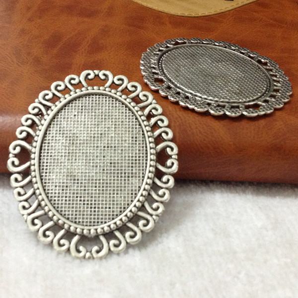 47*57mm Inner:30*40mm 15pcs Alloy/Metal Antique Silver/bronze Lace Blank Tray Jewelry Base Cameo Cabochon Bezel Ppcs