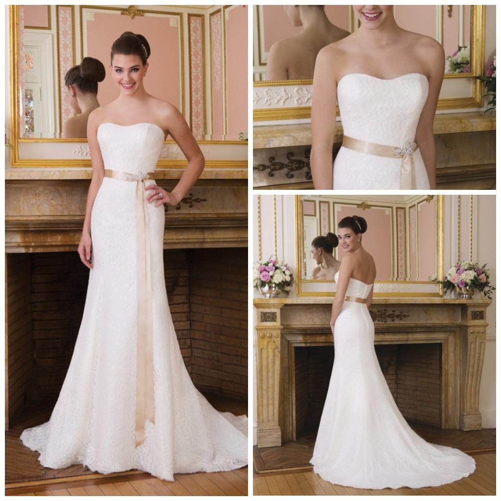 2014 Elegant Bridal Gown White Summer Beach Strapless