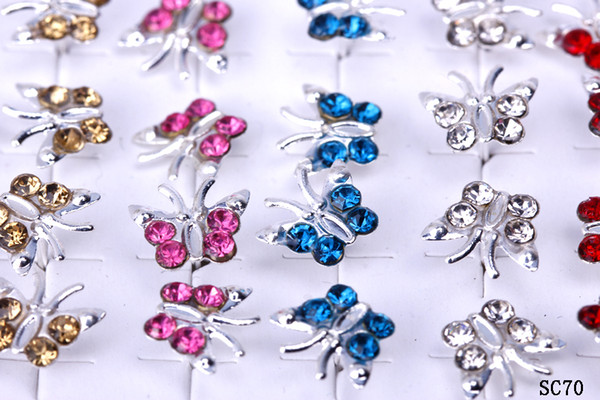 1 box/20 pairs/40pcs 925 Sterling Silver 11mm Ear Stud Women Lady Pretty Assorted Colorful Crystal Butterfly Earrings Fashion Jewelry SC70