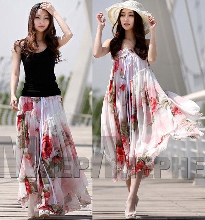 Vestidos de verão mulheres senhoras chiffon strapless saias longas estampa floral plissado beach dress bohemian maxi longo dress