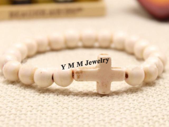 Fashion 8mm White Turquoise Crosses Bracelets Elastic For Women
