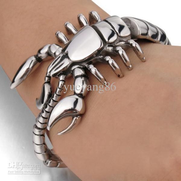 Chegada NOVA! 97g pesado de alta qualidade de fundição de Aço Inoxidável 316L dos homens moda jóias 50 MM pulseira motociclista Escorpião cadeia XMAS PRESENTES