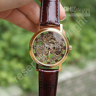 2019 new hot sale skeleton hollow fashion mechanical hand wind men luxury male business leather strap Wrist Watch Relogio