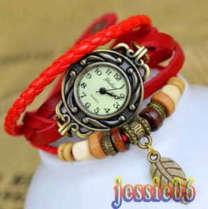 Wholesale 2013 New Watch PU Retro personality is pure and fresh and hand woven belts ladies bangle bracelet watches yulan