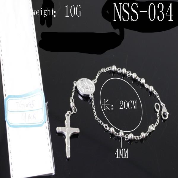 Frete Grátis Hotsale 100% Tom de Prata de Aço Inoxidável dos homens das Mulheres Moda Jesus Cruz rosário pulseira cadeia, NSS034