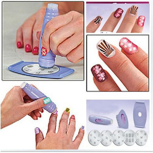 Salon Nail Art Express Decals Stamp Stamping Polish Design Kit Set