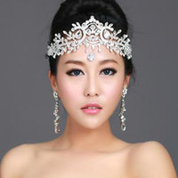 Wholesale Diamond Frontlet - Thousands of colors bridal white angel diamond frontlet Crown