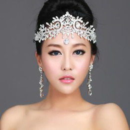Wholesale Bridal Frontlet - Thousands of colors bridal white angel diamond frontlet Crown