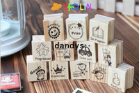 Wholesale teacher gifts free shipping - Free Shipping 15pcs per pack New English teachers comments wooden stamp set DIY stamp wood stamp gift stamp set