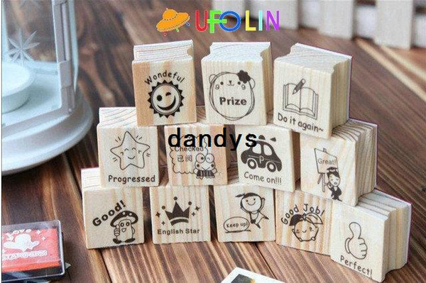 top popular Free Shipping 15pcs per pack New English teachers comments wooden stamp set DIY stamp wood stamp gift stamp set 2021