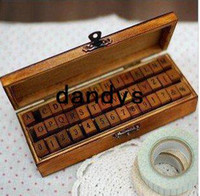 Wholesale Free Rubber Stamps - 42 pcs set Creative letters and numbers stamp set   wood gift box wooden stamp wooden box  Free shipping