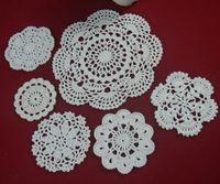 feito à medida crochet venda por atacado-Venda por atacado - 100% algodão feito à mão crochê doily toalha de mesa, 6 desenhos personalizados, decoração de casamento crochet applique 30PCS / LOT tmh607