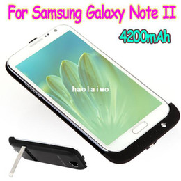 Wholesale Galaxy Note Case Battery Backup - Rechargeable Backup Battery External Power Bank Charger Case Stand Cover for Samsung Galaxy Note II 2 N7100 4200mAh wholesales