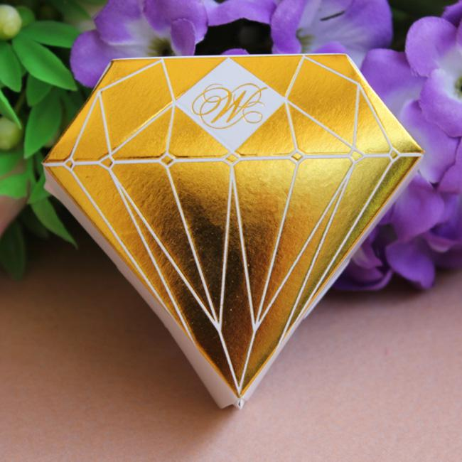 Average Price Of Wedding Gift: Gold Diamond Shaped Candy Box Gift Jewelry Diy Paper Boxes