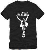 pamuk jackson toptan satış-Ücretsiz kargo Perakende Tee sıcak satış çocuklar t shirt dans t shirt moda şapka ile Michael Jackson baskılı mj t gömlek çocuklar için 100% pamuk