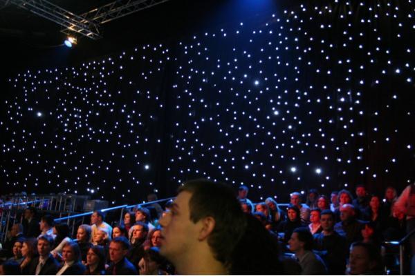 Cortina estrella LED Tela negra fresca blanco led 3x6m