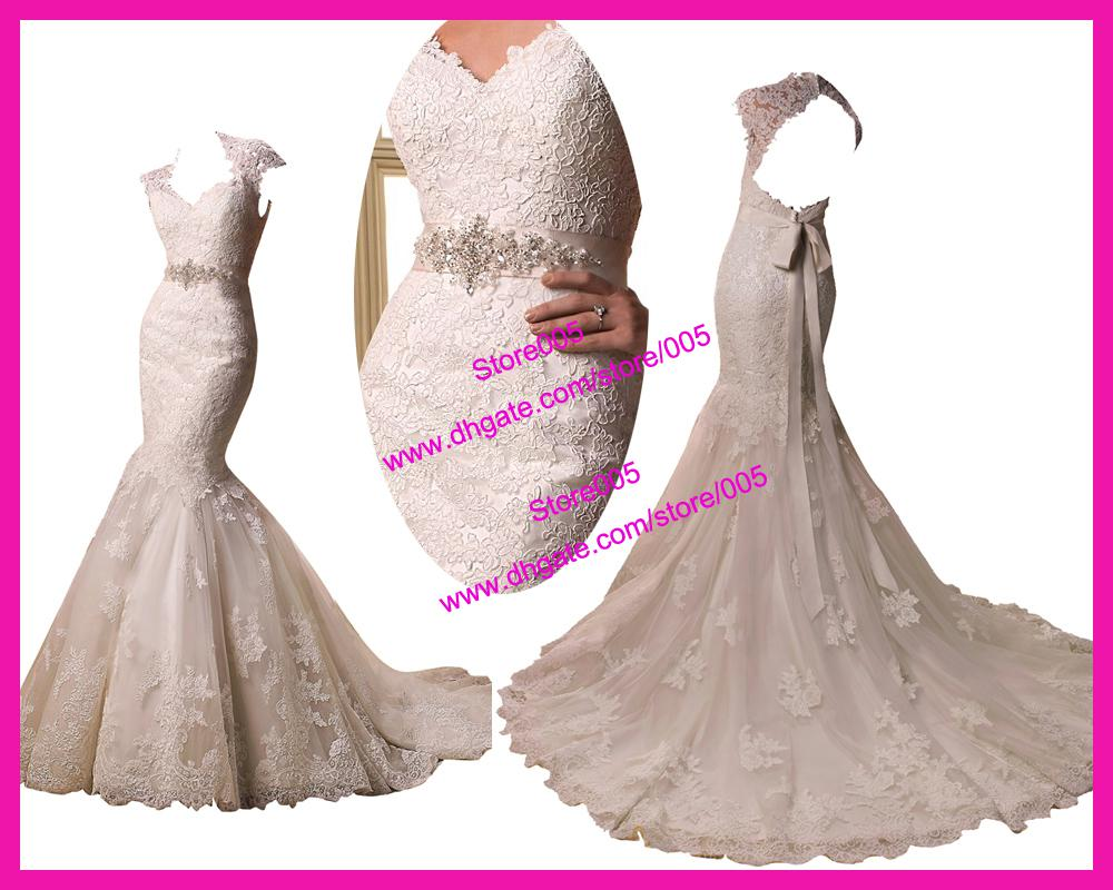 Dhgate Wedding Gowns: 2013 Cap Sleeve Backless Lace Appliques Mermaid Bridal