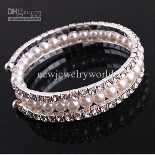 Nuovo arrivo vendita calda / Whosale prezzo a buon mercato tono argento di cristallo e perle perline braccialetto elastico, ragazze braccialetto