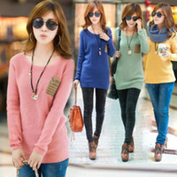 Wholesale Oversize Top Womens - New Womens Vintage Loose Oversize Knit Jumper Pullover Sweater Top Cardigan Free Shiing
