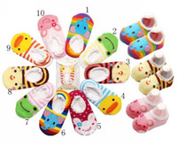 Wholesale Wholesale Boat Shoes - Baby Boat Socks Children's Shoes Antiskid Non-slip Bottom Cartoon 9-15cm kids toddle socks 50pair l free sihpping