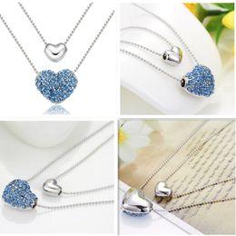 Wholesale Double Love 925 Necklace - 925 silver ladies double heart pendant necklace beautiful sky blue crystal necklace 1pcs 5pcs 10pcs 30pcs best romantic gift