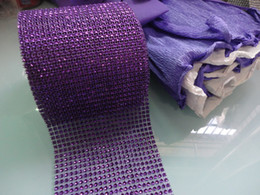 "Wholesale Diamond Mesh Roll Rhinestone - Hot Sell Purple 4.5"" x 10 yard 24 Row Wedding Decoration Diamond Mesh Roll Rhinestone Ribbon Crystal Wrap Free shipping"
