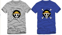 Wholesale One Piece Luffy Costume - Free shipping Chinese Size S--XXXL retail Japanese Anime costumes cosplay costumes One Piece luffy Tshirt for skull logo 100% cotton 6 color