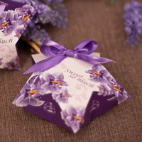 Favores Violeta De La Boda Baratos-Alta calidad Paper Candy Cajas Violetas Impreso Purple Bowknot Lucky Star Shape Favores de la boda Party Party Holder 100pcs / lot H006