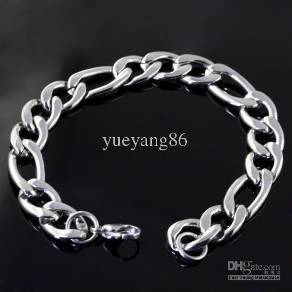 11mm 1 conjunto 127g altamente espelho de aço inoxidável polimento figaro cadeia 23.6 '' colar 9 '' pulseira, moda masculina conjunto de jóias