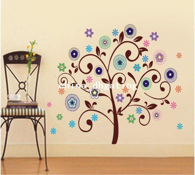 Childrens Tree Wall Decal Girl Wall Art Sticker Scroll Sticker Tree ...