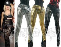 Wholesale Leather Patch Leggings - Heavy metal and punk rock Sexy Fishnet golden patch bullet head rivet Leggings