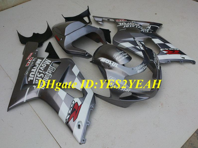 Fairing Kit voor Suzuki GSXR600 750 2001 2002 2003 GSXR 600 GSXR750 K1 01 02 03 GSXR 750 Black Silver Backings Carrosserie SY23