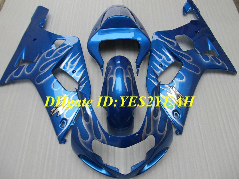 Carenados personalizados de carrocería para SUZUKI GSXR600 750 2001 2002 2003 GSXR600 GSXR750 K1 01 02 03 Carenado cuerpo de carenado de llamas plateadas SY35