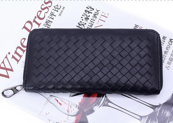 Venta al por mayor de los hombres de moda billetera de cuero de piel de oveja Nappa Zip alrededor de la cartera bolso de mano de primera clase de cuero genuino larga cartera buena tarjeta monedero