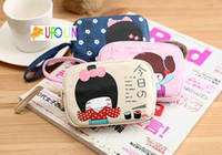 Wholesale Japanese Cartoon Girls - Free Shipping   New sweet japanese girl series fabric coin bag
