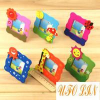Wholesale Baby Photo Frame Cartoon - Free shipping cute wooden cartoon children's photo frame cartoon frame baby frame Wholesale