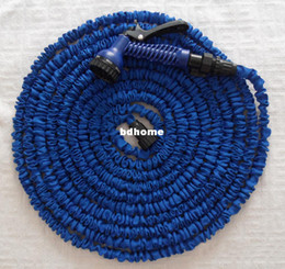Hose 75ft Canada - 75ft Garden hose with Spray Nozzle expandable blue water hose Free Shipping