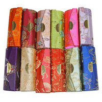 Wholesale Mini Lip Tube - Fashion Mini Travel Jewelry Storage Case with Mirror Silk brocade Pendant Necklace Box Lip Balm Packaging Containers Tubes 12pcs lot