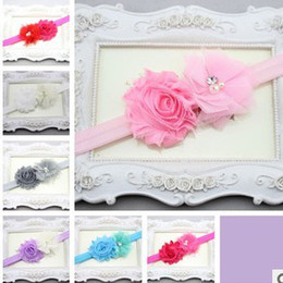 Wholesale Shabby Mesh - NEW Baby Headband for Photography cute headband Shabby Frayed Chiffon Flower plus mesh Flower Hairbands girls hair accessories drop shipping
