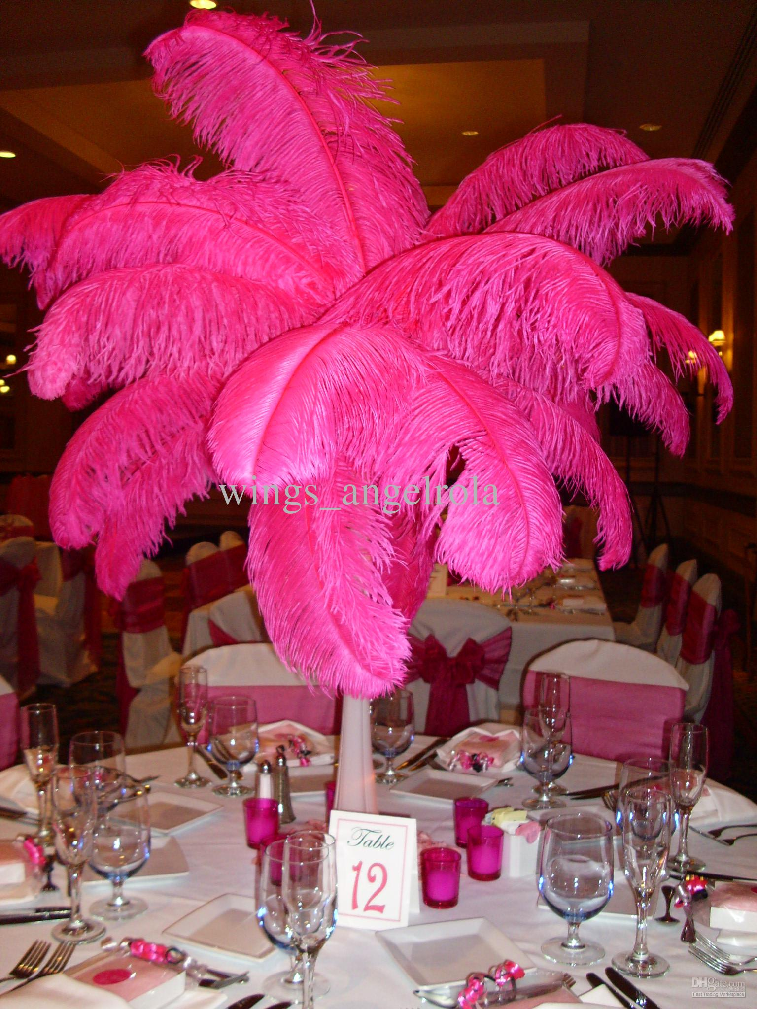Ostrich feather wedding party decoration