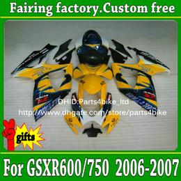 Motos corona gsxr online-7 regalos Inyección de carenado de motos carrocería 2006 2007 SUZUKI K6 GSXR 600 GSXR 750 06 07 GSX-R600 R750 negro amarillo Corona carenado ad96