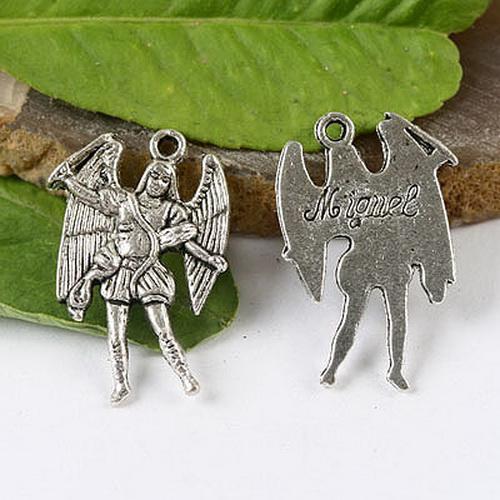 argento tibetano colore Arcangelo 24x14mm Materiale: lega di zinco metallo senza piombo Materiale: lega di zinco metallo senza piombo charms H1392