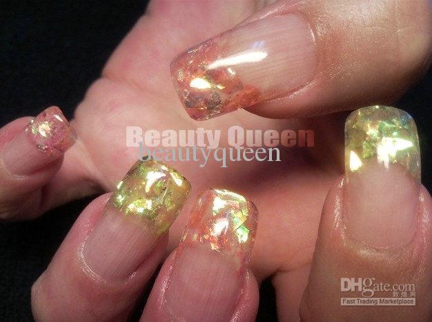 * Gratis Snelle Verzending * 12 Kleuren Nail Art Gebarsten Glanzende Iced Mylar Sheets Tip Glitter Iriserende Poederdecoratie voor Acryl / UV-gelspijker
