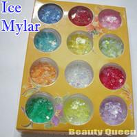 feuille acrylique achat en gros de-* EXPÉDITION RAPIDE GRATUITE * 12 couleurs Nail Art craquelé FEUILLES MYLAR GLACÉES GLACÉES Astuce Paillettes Décoration irisée en poudre pour GEL ACRYLIQUE / UV