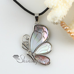 Wholesale Cameos Bulk - butterfly cameo white Penguin pink seashell mother of pearl oyster sea shell pendant necklaces Fashion jewelry in bulk Mop2148tc0
