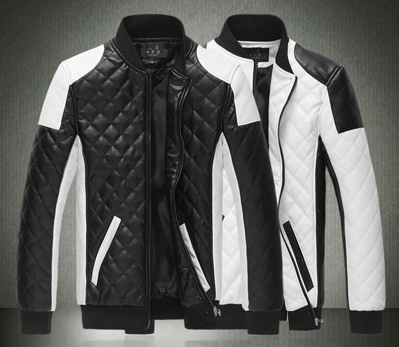 Lima Spring New Fashion Mens Jacket Simple Hit Color Pu Leather Jacket Motorcycle Jacket Slim Mens Winter Coat Mens Jackets Mens Outwear