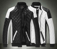 Wholesale Men White Leather Motorcycle Jacket - 2015 Spring new fashion men's jacket Simple Hit color pu leather jacket Motorcycle jacket slim men's Winter coat mens jackets men's Outwear
